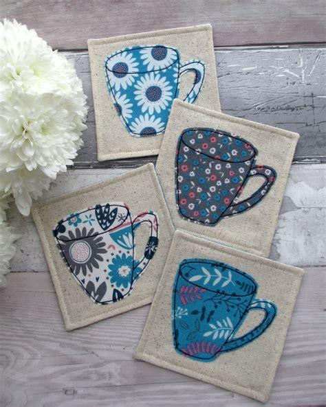 fabric crafts small fabric coaster set blue mug coasters drinks mats