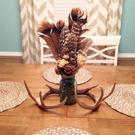 rustic dining room table centerpiece turkey feathers