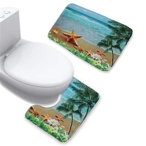 bathroom tank cover sets 3 pcs flannel anti slip toilet tank cover contour rug