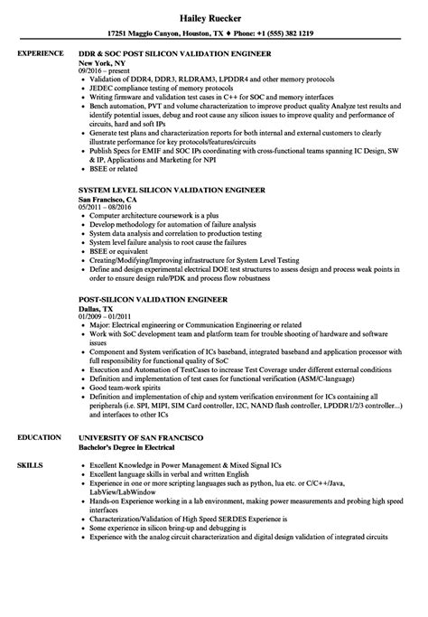 Validation Engineer Resume by Silicon Validation Engineer Resume Sles Velvet
