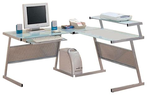 Coaster L Shaped Desk Coaster Wrightwood L Shape Computer Desk In Silver Modern Desks And Hutches By Cymax