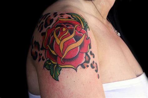 leopard rose tattoo leopard print and traditional floral