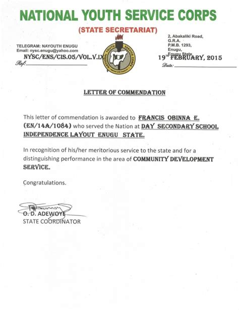 letter of commendation nysc letter of commendation 1386