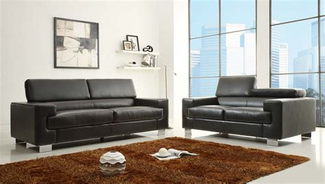 homelegance vernon sofa set black bonded leather