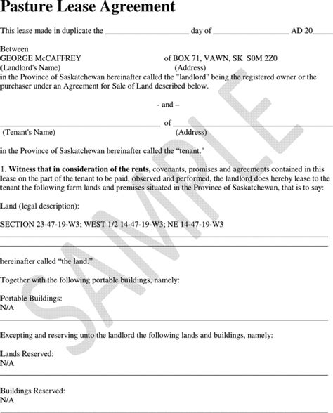 grazing agreement template grazing lease agreement images