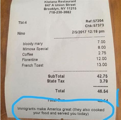 Lumber 84 Kiwi Chef Leaves Note At Bottom Of Receipt In New York