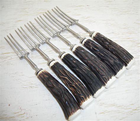 antler handled cutlery antler handled 3 tine forks antique faux stag handles