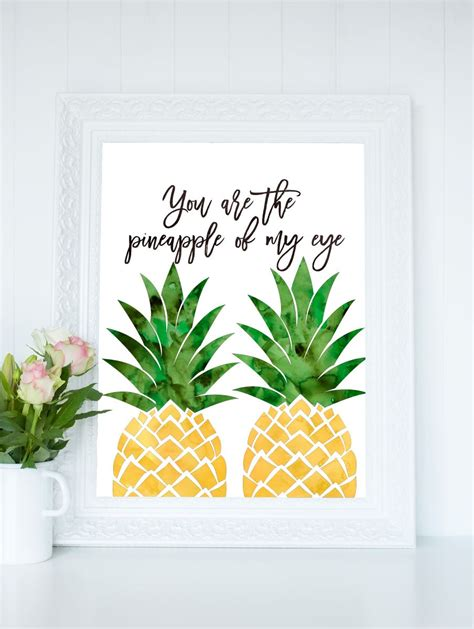 pineapple printable watercolor pineapple print you
