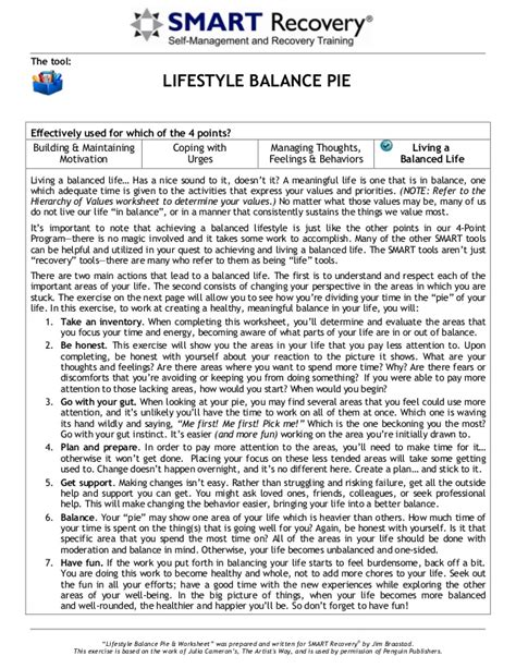 Smart Recovery Worksheets by Lifestyle Balance Pie E