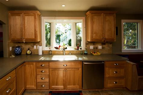 Dressing Up Kitchen Cabinets oakland farmhouse kitchen bay window at sink traditional