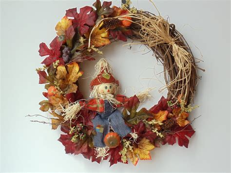autumn wreaths fall scarecrow wreath fall door wreath autumn by natureswhimzy