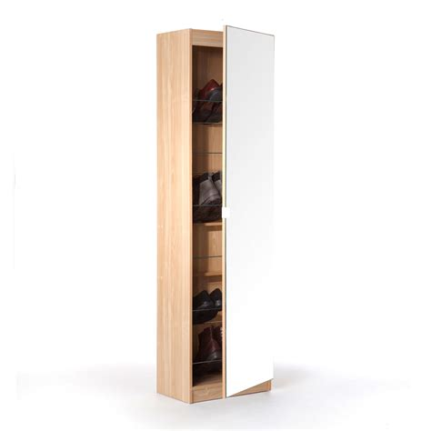 White Oak Wood Shoe Cabinet With Mirrored Swing Door As White Shoe Cabinet With Doors