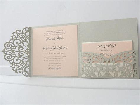Non Paper Wedding Invitations by Laser Pocketfold Square 3 Light Silver