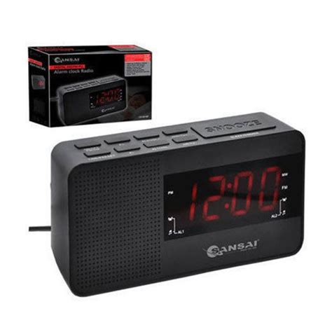 sansai digital ppl am fm dual alarm clock radio large led display snooze dimmer