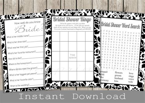 black and white printable bridal shower games black and white bridal shower games set bingo word