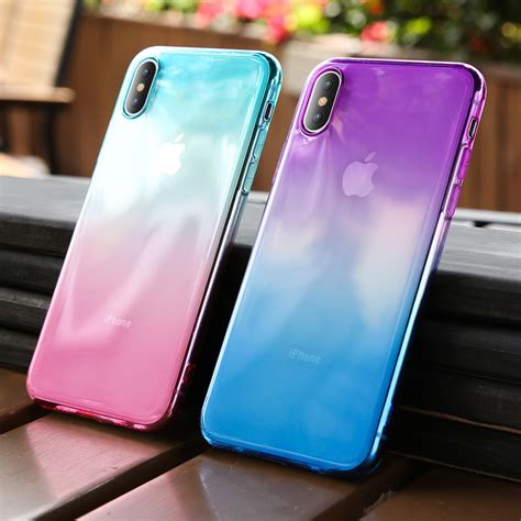 kisscase gradient color phone for iphone x xr xs max soft silicone cases for iphone 6 6s 7
