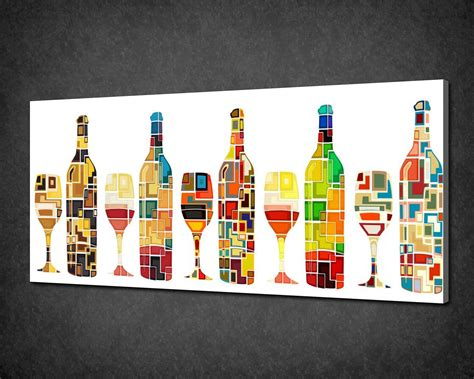 abstract kitchen collection abstract wine bottles kitchen art canvas print poster