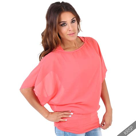 2 In 1 Blouse Kancing Batwing 8367 krisp womens oversized batwing chiffon blouse tank top 2 in 1 plus size ebay