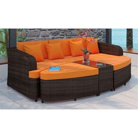 orange brown sofa modway monterey 4 piece outdoor sofa set in brown and