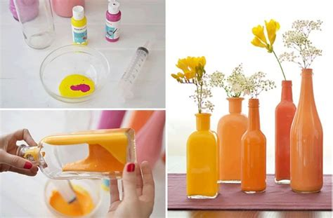 paint the inside of clear bottles to create beautiful
