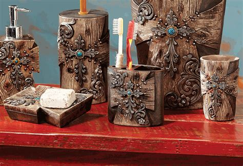 rustic bathroom sets rustic cross bath set 3 pcs