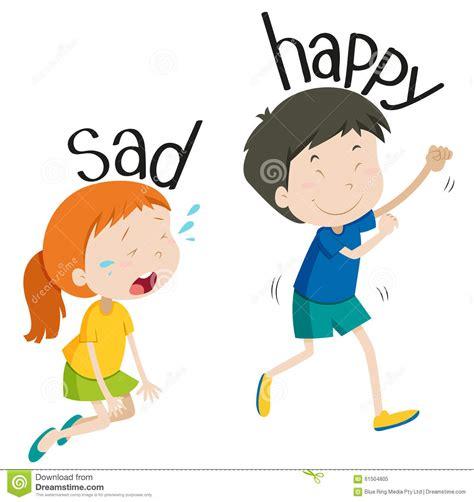 imagenes de feliz triste adjetivo opuesto triste y feliz ilustraci 243 n del vector