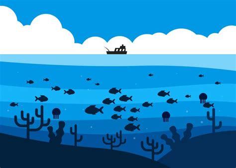 deep sea fishing boat vector fish in deep sea under the fishing boat illustration