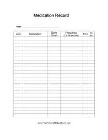 Sample medication record form templates printable medical forms