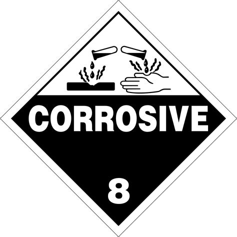 printable corrosive label class 8 corrosives placards and labels according 49