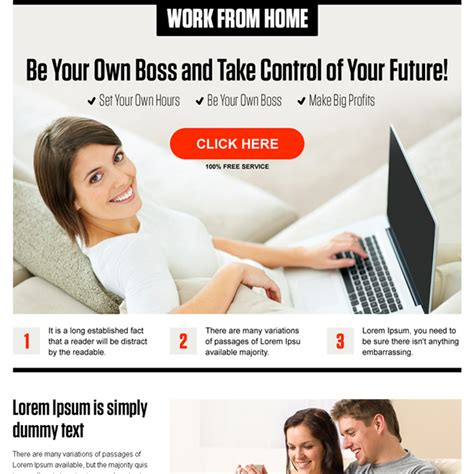 online design work from home responsive work from home landing page design templates to
