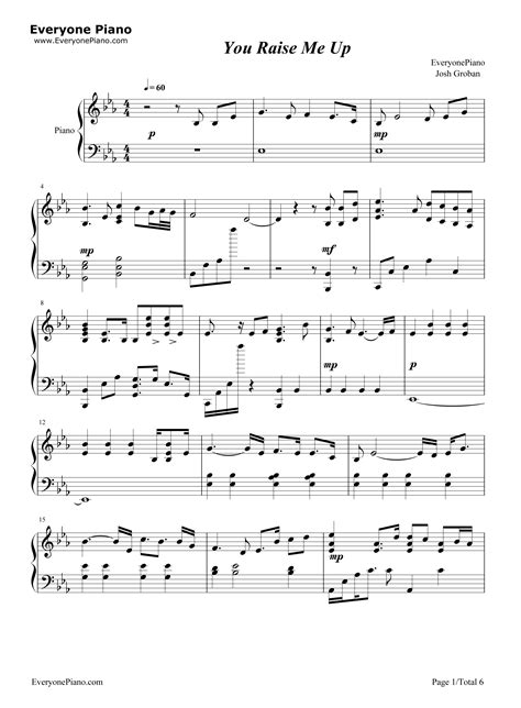 carrie underwood you raise me up you raise me up josh groban stave preview 1 free piano