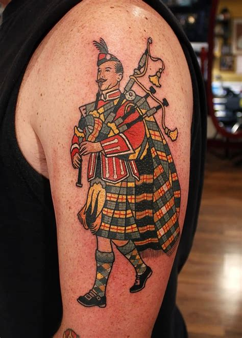 bagpipe tattoo designs terrific grey ink scottish skeleton piper on half
