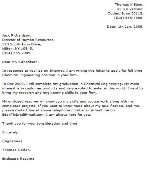 chemical engineering cover letter engineer cover letter exles cover letter now