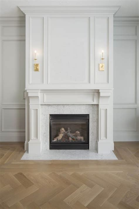 fireplace trim transitional living room white gold