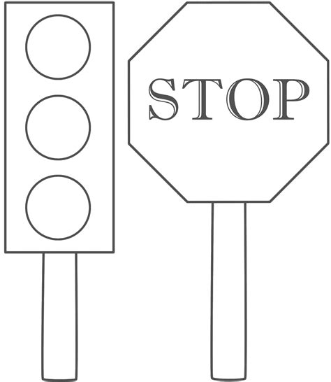 Traffic Lights Stop Sign Coloring Page Class Ideas Lights Coloring Page