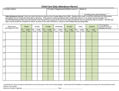 daycare record 10 best images of daily attendance record form child