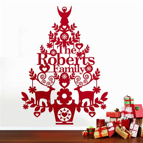 personalised christmas tree wall decal by ink pudding