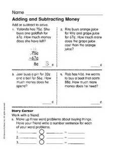 adding and subtracting money 1st grade worksheet lesson