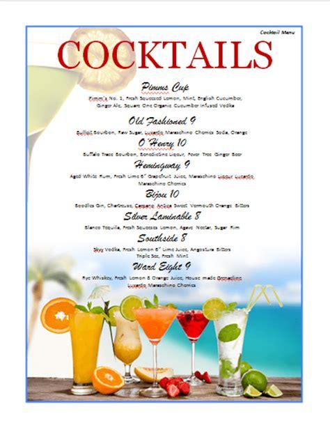 Word Vorlage Cocktailkarte 77 Kostenlose Speisekarten Vorlagen Zum Selbst Gestalten