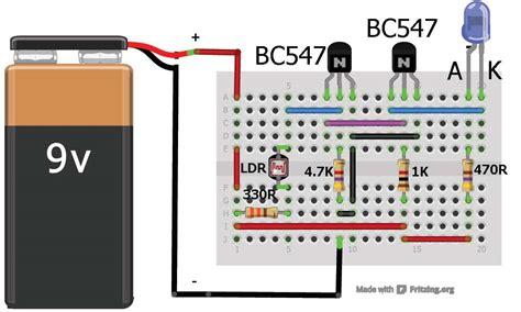 breadboard circuit for beginners sensor using two transistors buildcircuit