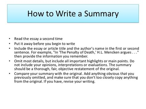 An Essay On Summary by How To Write Summary Of An Article Article Writing Writing Guide
