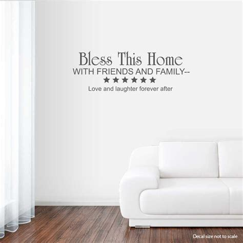 family friends home quote creative wall art sticker bless this home with friends and family wall art decals