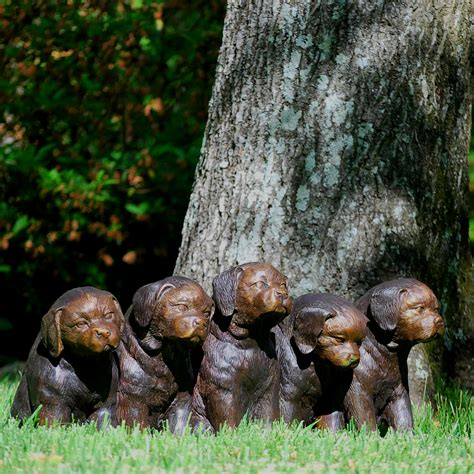backyard bronze casting bronze five sitting dogs sculpture metropolitan