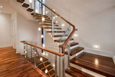 Wood And Glass Banister by Modern Wood Stairs With Glass Risers Architecture Woden