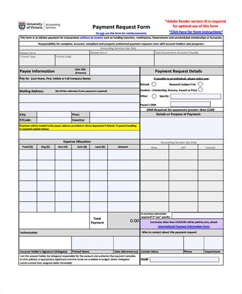 payment form template request form template