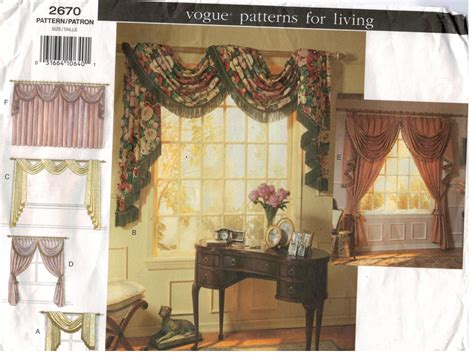 Window Treatment Patterns by Vogue Pattern 2670 Patterns For Living Swags And Jabot