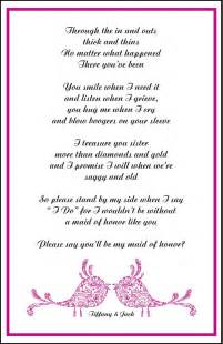 Will You Be My Bridesmaid Poem Designs By Alaina