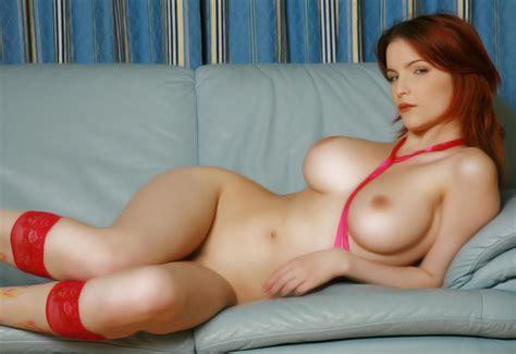 Wallpaper Redhead Nude Naked Shapely Curvy sexy big tits big Boobs Sofa tits Stockings