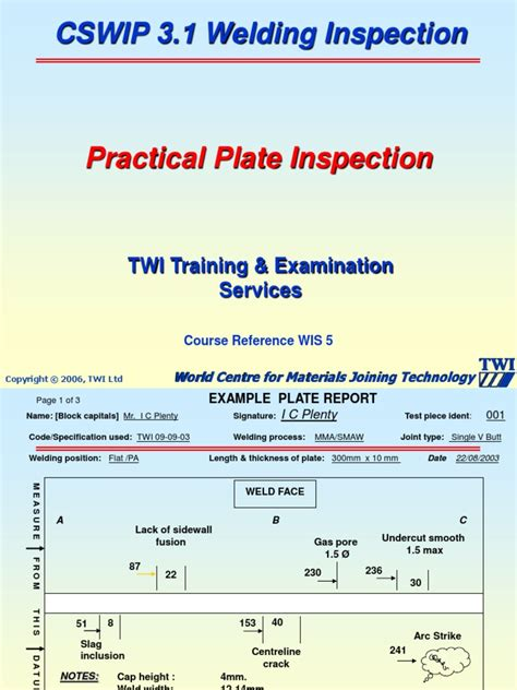 Welding Inspection Ori 1 Cswip Welding Inspection Plate Section Practical Copy