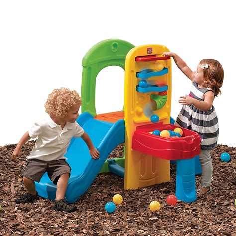 small outdoor toddler slide plastic balls climber backyard